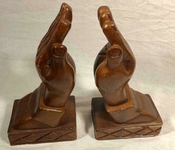 VINTAGE HAND CARVED WOOD PRAYING HANDS BOOK ENDS CHRISTIAN DECOR RELIGIOUS - $34.64