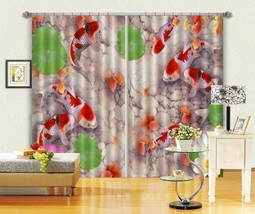 3D Carp Lotus Pool 21 Blockout Photo Curtain Print Curtains Drapes US Lemon - $177.64+
