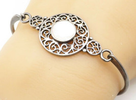 BOMA 925 Silver - Vintage Pink Mother Of Pearl Filigree Bangle Bracelet ... - $34.71