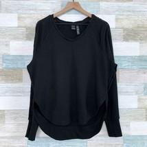Central Park Activewear Lace Sleeve Sweatshirt Black Athleisure Womens L... - $24.74
