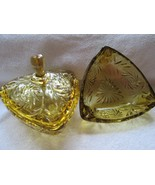 "Hazel Atlas Amber Pinwheel, covered glass box & ashtray, 6"" triangle, perfect - $30.00"