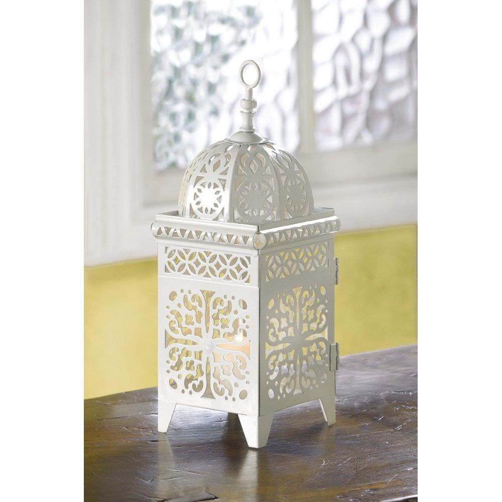 White Lantern Candle, Antique Decorative Iron Scrollwork Candle Lantern Holder