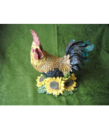 "Vintage Resin Rooster Figurine With Sunflowers Multi-Color 10"" x 8.25"" x... - $38.00"
