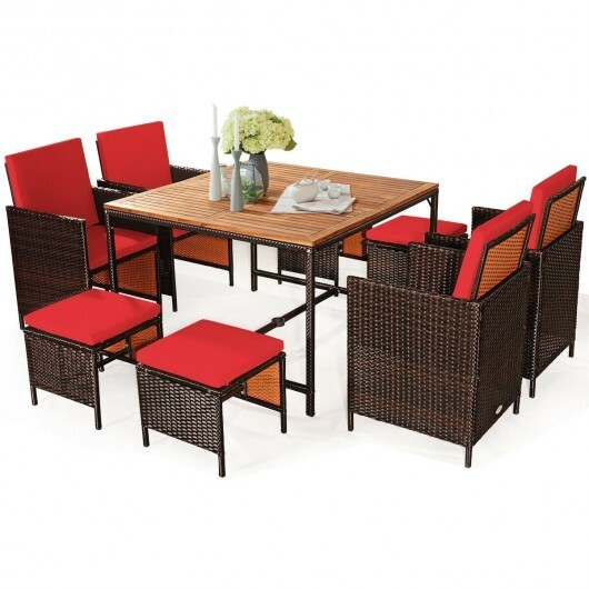 9-Piece Costway Rattan Patio Dining Cushioned Chair Set