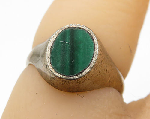 925 Sterling Silver - Vintage Inlay Green Malachite Solitaire Ring Sz 4 - R5280