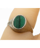 925 Sterling Silver - Vintage Inlay Green Malachite Solitaire Ring Sz 4 ... - $28.03