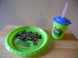 NEW Hard Plastic 2 pc Set Ninjas in Training Plate CUP W Lid Green - $9.50