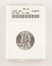 1963 25 ¢ Double Die Obverse FS-023 Washington Quarts Classé As MS-64 Pa... - $77.95