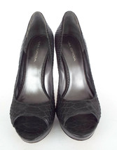 VIA SPIGA Size 8.5 Black Snake Print Leather Platform Heels Pumps Shoes 8 1/2 - $54.00