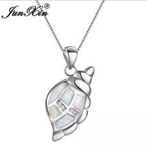 925 sterling silver Seashell Opal Conch Pendant Necklace [PEN-187] - $23.76