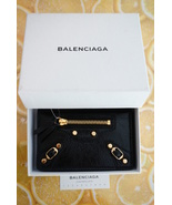 Balenciaga Classic Gold Black Leather Card Case Holder Wallet - $319.99