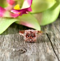 Beautiful Morganite,White Diamond Womens Anniversary Ring In Solid 14k Rose Gold - $369.99