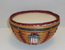 "Longaberger 2004 Collectors Club Proudly American 9"" Bowl Basket & Prote... - $44.54"