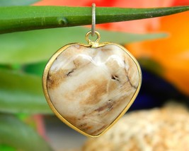 Vintage Natural Gemstone Stone Heart Love Puffy Gold Framed Pendant - $17.95