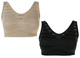Rhonda Shear 2-pack Mesh Inset Bra Set in Black/Nude, Large (634104) - $26.72