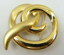 Vintage Jona Signed Ribbon Brooch Gold Tone Retro Fashion - $10.00