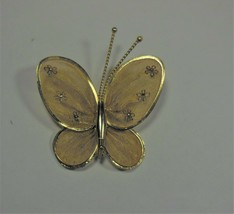 Vintage Gold Tone Mesh Butterfly Pin - $10.88