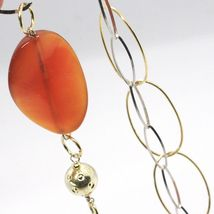 925 Silver Necklace, Carnelian Oval Crimped, Double Chain, 110 cm long image 7