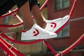 Converse Womens Collection Pro Leather 76 Low Pro Ox Trainers White/Red RRP - $148.09