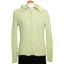 EILEEN FISHER Peridot Green Cotton Melange Rib Zip Front Cardigan Sweater S - $119.37 CAD