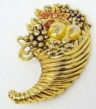 Vintage Gold Color Enamel Horn of Plenty Cornucopia Thanksgiving Fall Br... - $12.82