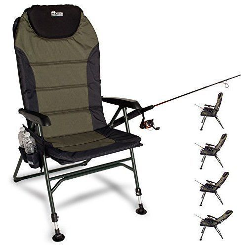 Fishing Chair with Rod Pole Cup Holder Adjustable Legs Outdoor Adjustable Pouch