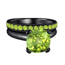 Cushion Cut Peridot 14k Black Gold Over .925 Silver Engagement Bridal Ring  - $84.96