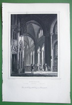 GERMANY Interior of Church at Ruffach - 1853 Antique Print - $11.25