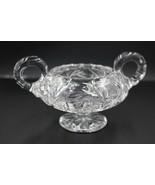 Vintage Double Handled Crystal Sugar Bowl - $29.69