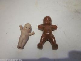 2 VINTAGE BABY BOY FIGURINES AFRICAN AMERICAN PLASTIC BABY & PORCELAIN K... - $9.99