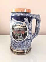 Vintage German Style Ceramic Beer Mug Blue Large - $8.99
