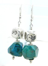 Blue Green Faceted Turquoise Silver Tone Dangle Earrings Vintage - $13.86