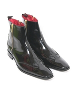 Luxury black leather boots, Ankle high Dress Classic Designer Boots, Zip... - $179.97+