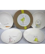 """MAGENTA RAE DUNN EASTER BUNNY APPETIZER CANAPE 6"""" PLATES  - $39.99"""