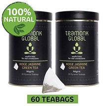 Teamonk Koge Nilgiri Jasmine Green Tea Bags - 60 Teabags | Tea for Relaxation |  - $23.99