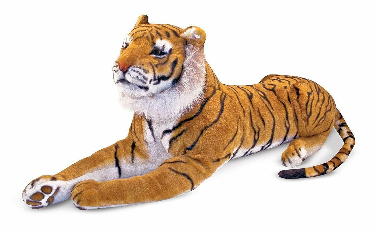 Giant Plush Tiger Soft & Cuddly Life-Like Details (Body About 47 IN, Tail 30 IN)