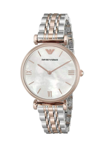New Emporio Armani Classic Rose Gold Silver Mother of Pearl Women's Watc... - $171.09 CAD