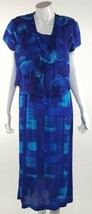 Karin Stevens Womens Sz 6 Petite 6P A-Line Dress and Blazer 2pc Set Blue... - $23.09