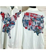 Titleist by Corbin Mens Size L Patriotic American Map Logo White Polo sh... - $18.80