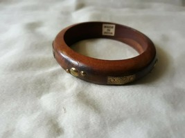 Wood bangle brass accents India - $10.00