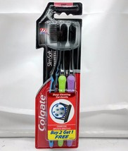 Colgate Slim Soft Charcoal Toothbrush Pack of 3 Toothbrushes - Assorted Colours - $5.59