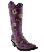 Womens Purple Leather Butterfly Flower Embroidery Western Cowgirl Boots ... - €127,00 EUR