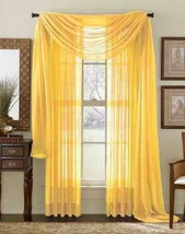 Avanti Home Elegance Solid Colors 1 Pc Scarf Valance Soft Sheer Voile Wi... - $18.80