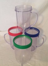 Magic Bullet Replacement Cups w/ Color Rings Plastic Lot of 4 19941 Acrylic - $9.49