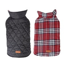 NACOCO Dog Winter Coat Pet Plaid Jacket Waterproof Grid Warm Costumes fo... - $14.84