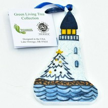 Handcrafted Christmas Lighthouse Recycled Wood Craquelure Painted Ornament