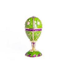 Green  Faberge Egg Trinket Box & music Handmade by Keren Kopal Austrian Crystals - $99.00
