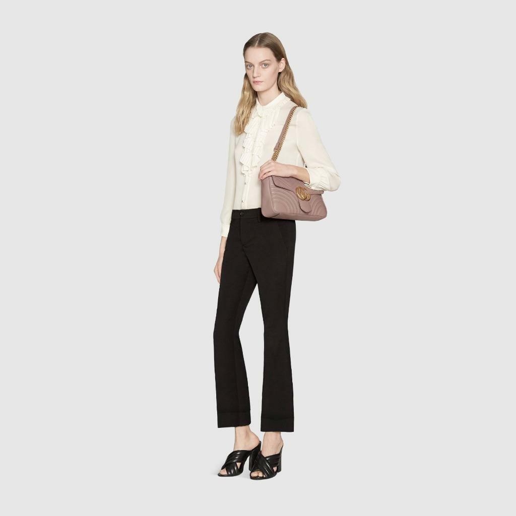 NIB Gucci GG Marmont dusty pink leather medium shoulder bag ; Rtl $2490