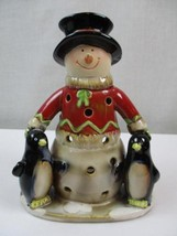 Yankee Candle Snowman  with Penguin Tea Light Candle Holder - $25.64
