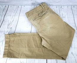 American Eagle Khaki Pants Sz 32 x 34 Men Tan Flat Front Casual Preppy - $9.90